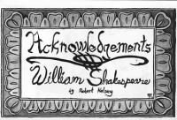 Acknowledgements William Shakespeare